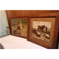 2 Very Old Framed Prints - 1 of Cattles and 1 of Children