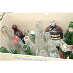 Box of Assorted Pop Bottles (includes 1 Brown Orange Crush Bottle)