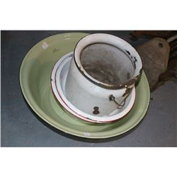 4 pcs of Enamelware (Dish Pan, 2 Hand Basins & a Pail)