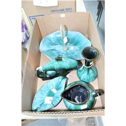 Flat w/5 pcs of Blue Mountain Pottery ( Serving Plate w/Handle, Dolphin, Vase, Creamer & Dish)