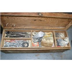 Wooden Carpenter's Tool Box w/Contents (Drill Bits, Saws, Nails, etc.)