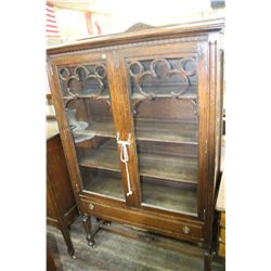 China Cabinet w/4 Shelves, Bottom Drawer - Ornate - Metal Casters