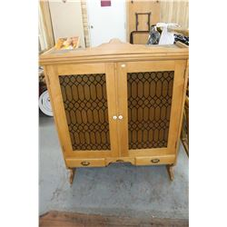 Bakers Cabinet (Top w/Glass in Doors & Bottom w/3 Dry Bins) - On Casters