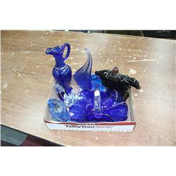 Flat w/Blue Glass pieces and Avon pcs.