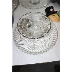 Sectioned Dish and Footed Bowl w/Silver Overlay