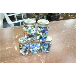 5 Jars of Marbles - 4 with Small & 1 with Boulders