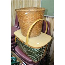 Picnic Basket and a Wicker Waste Basket