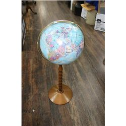 """Globe on a Wooden Stand (Overall height - 31"""")"""