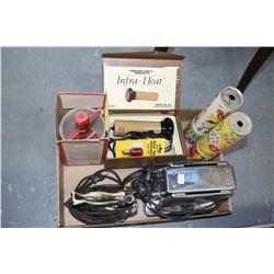 Box w/2 Kaleidoscopes; an Electric Infra-Heat Massager; a Toaster; an Iron & a Donut Maker