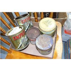 Box w/5 Tins - Coffee, Tobacco, Jam, Marmalade & Syrup