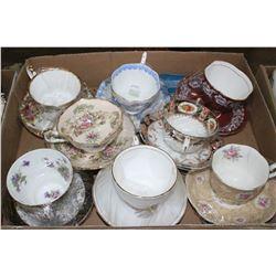 Flat w/8 China Cup & Saucer Sets (Royal Albert, Paragon & Royal Windsor)
