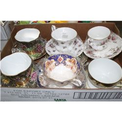 Flat w/6 China Cup & Saucer Sets (some Royal Albert)