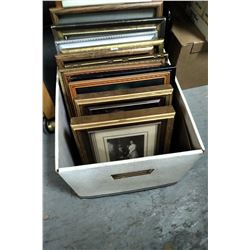 Box with Several Assorted Framed Pictures