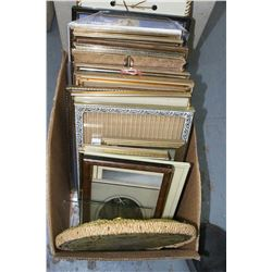 Box with Several Assorted Framed Pictures - Mostly Metal Frames