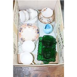 Box w/Milk Glass Cream & Sugar; Forest Green Cream, Sugar & Tray; Sm. Davar Pitcher & Other Misc. Di