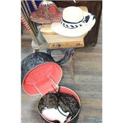 Hat Box w/Wigs & 5 Hats (1 Folds up like a Fan)