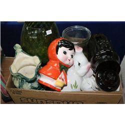 Box of Piggy Banks, Vases & a Pitcher