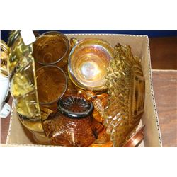 Box of Amber Glass - Dishes, Cups, Basket & Glasses