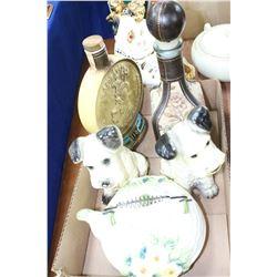 Fat with 2 Dog Ornaments; 2 Decanters & a Tea Pot