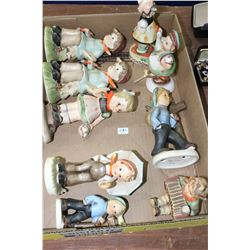 Flat w/Collectible Children Figurines - (2) Our Children by Norton; 1 Goebel (Made in Germany); 1 Li