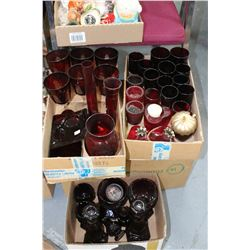 3 Boxes of Ruby Glass - 1 Box is Cape Cod