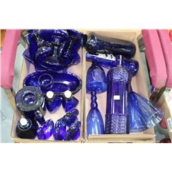 2 Boxes of Blue Glass