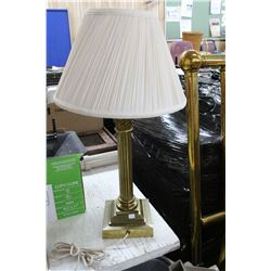 Heavy Brass Table Lamp with Fabric Shade