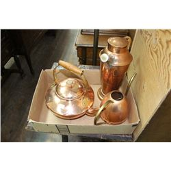 Flat of Copperware: Kettle; Plant Watering Can & Water Dispenser
