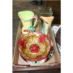 Flat with 3 Vases, Goofus Glass Bowl & a Royal Doulton Bowl