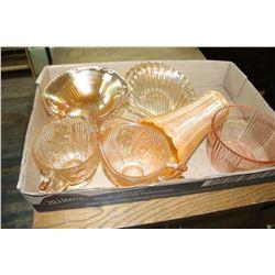 Flat of Depression Glass ( Iris & Herringbone Creamers,etc)