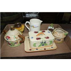 Flat of Cottageware; Brown Jug (Made in Liechtenstein) &  Miscellaneous pieces