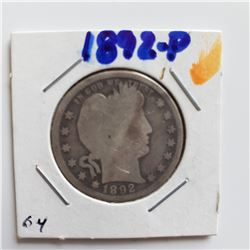 1892-P Barber Quarter