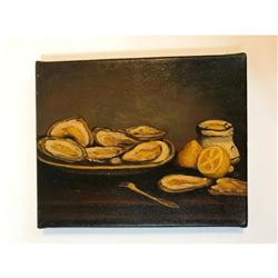 20thc Oil on Canvas Still Life Painting, Oysters & Lemons