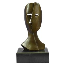 "Pablo Picasso Tribute Face Mask Bronze Sculpture 11"" x 6"""