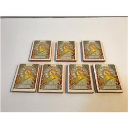 Set of Mucha Decorative Minature Ceramic Tiles, Zodiac