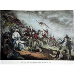 After Nathaniel Currier, Fine Art Modern Lithograph, Battle At Bunkers Hill - 1775
