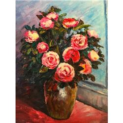 20thc Oil on Canvas Impressionist Painting, Still Life, Pink Roses