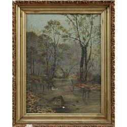 "Southern School, ""King Fisher In A Swamp Landscape,"" 19th C., Oil On Canvas"