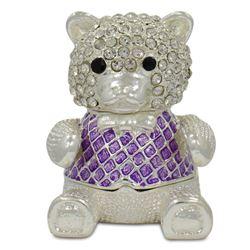 Crystal Teddy Bear Trinket Box Figurine 2 Inches