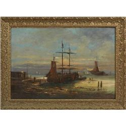 """French School, """"Fishing Boats In The Harbor,"""" 19th C., Oil On Canvas"""