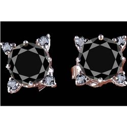 4.30ct Black Moissanite & Diamond Sterling Earrings