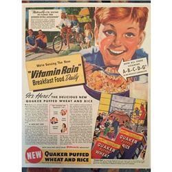 1940 Quaker Puffed Wheat Rice Breakfast Ad