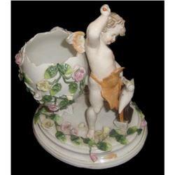 19thc Dresden Sitzendorf Porcelain Figural Vase
