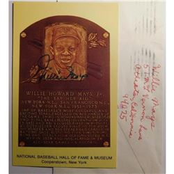 Willie Mays Autographed Hall of Fame Postcard Card with original S.A.S.E.