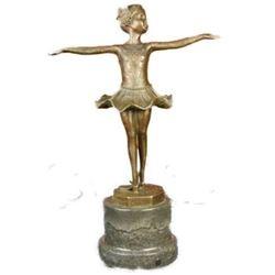 Signed Preiss Little Girl Child Ballerina Bronze Marble Statue Sculpture
