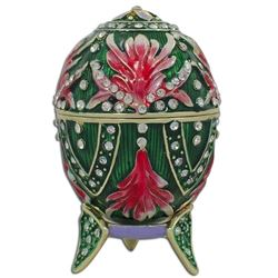 Jeweled Amaryllis Flowers Royal Inspired Russian Egg 3.5 Inches