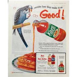 1959 Karo Syrup Parrot Magazine Advertisement