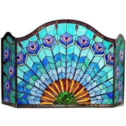 "Tiffany-glass Peacock Feather 3pcs Folding Fireplace Screen 48"" Wide"