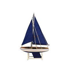 """Wooden It Floats 12"""" - Blue Floating Sailboat Model with Blue Sails"""