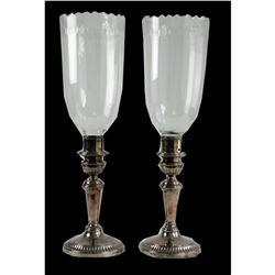 Regency Silver Plate Crystal Hurricane Lamps
